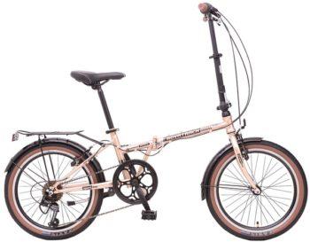 "108671 2 350x273 - Велосипед NOVATRACK 20"" AURORA 3,6, складной, золотистый беж, Shimano 6 speed, TY21/RS35/SG-6SI #108671, рама - 12"""