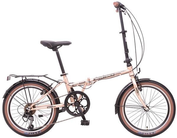 "108671 2 - Велосипед NOVATRACK 20"" AURORA 3,6, складной, золотистый беж, Shimano 6 speed, TY21/RS35/SG-6SI #108671, рама - 12"""