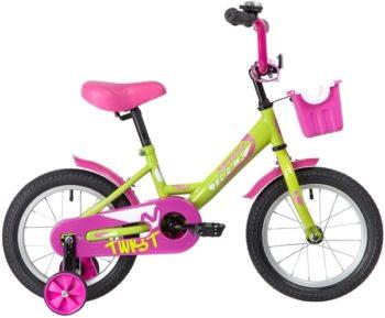 "139623 2 350x289 - Велосипед NOVATRACK 14"" TWIST зеленый, тормоз нож, крылья корот, полная защ,цепи, корзина, рама - 9"""
