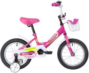 """139624 2 350x286 - Велосипед NOVATRACK 14"""" TWIST розовый, тормоз нож, крылья корот, полная защ,цепи, корзина, рама - 9"""""""