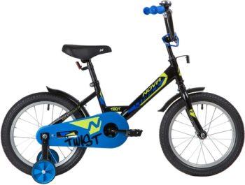 "139643 2 350x265 - Велосипед NOVATRACK 16"" TWIST черный, тормоз нож, крылья корот, полная защ,цепи, рама - 10,5"""