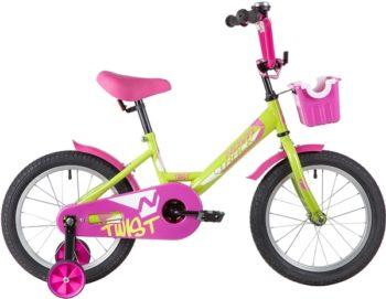 "139645 2 350x271 - Велосипед NOVATRACK 16"" TWIST зеленый, тормоз нож, крылья корот, полная защ,цепи, корзина, рама - 10,5"""