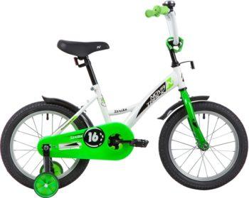 "139647 2 350x279 - Велосипед NOVATRACK 16"" STRIKE белый-зелёный, тормоз нож, крылья корот, полная защита цепи, рама - 10,5"""