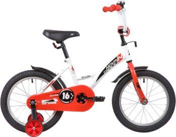 """139648 2 350x274 - Велосипед NOVATRACK 16"""" STRIKE белый-красный, тормоз нож, крылья корот, полная защита цепи, рама - 10,5"""""""