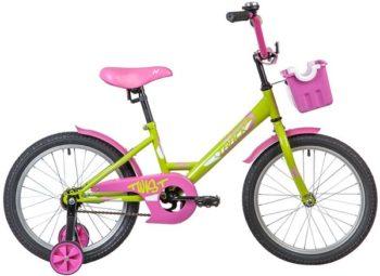 "139674 2 350x255 - Велосипед NOVATRACK 18"" TWIST зелёный, тормоз нож, крылья корот, корзина, защита А-тип, рама - 11,5"""