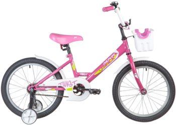 "139675 2 350x250 - Велосипед NOVATRACK 18"" TWIST розовый, тормоз нож, крылья корот, корзина, защита А-тип, рама - 11,5"""