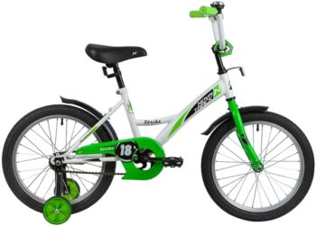 "139682 2 350x251 - Велосипед NOVATRACK 18"" STRIKE белый-зелёный, тормоз нож, крылья корот, защита А-тип, рама - 11,5"""