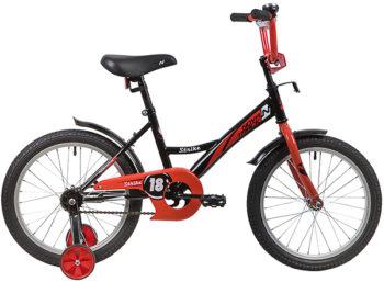 """139685 2 350x257 - Велосипед NOVATRACK 18"""" STRIKE черный-красный, тормоз нож, крылья корот, защита А-тип, рама - 11,5"""""""
