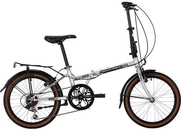 """139716 2 - Велосипед NOVATRACK 20"""" AURORA 3,6, складной, сталь, серебристый, Shimano 6 скор,, TY21/RS35/SG-6SI, рама - 12"""""""
