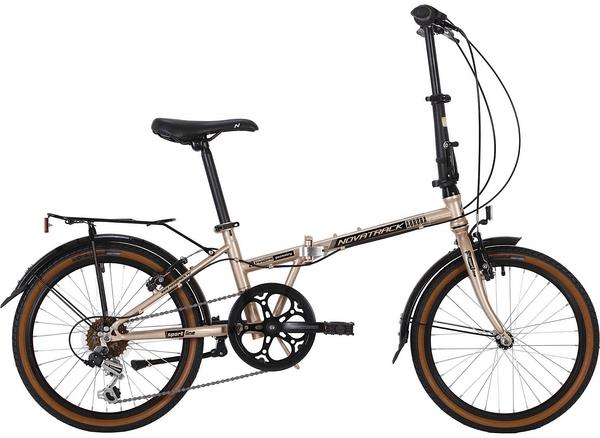 """139717 2 - Велосипед NOVATRACK 20"""" AURORA 3,6, складной, сталь, золотой, Shimano 6 скор,, TY21/RS35/SG-6SI, рама - 12"""""""