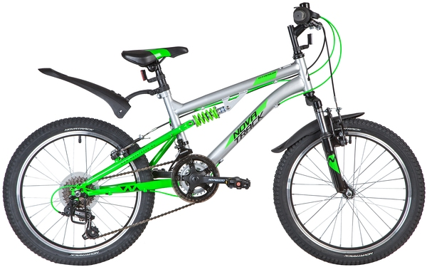 "139728 2 - Велосипед NOVATRACK 20"" TITANIUM 12,V, серебристый, сталь, 12 скор,, SHIMANO, V-Brake, рама - 15"""
