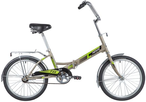"""139738 2 - Велосипед NOVATRACK 20"""" TG-20 classic 1,0, складной, серый, тормоз нож, ALобода, сид,и руль комфорт, багажник, рама - 14"""""""