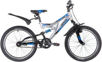 "139751 2 350x215 - Велосипед NOVATRACK 20"" SHARK, серебристый, сталь, 1 скор,, V-brake, рама - 12"""
