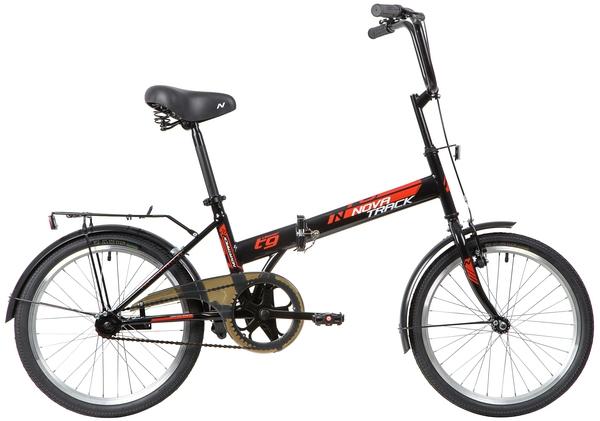 """139791 2 - Велосипед NOVATRACK 20"""" TG-20 classic 2,1 складной, черный, передний тормоз V-Brake задний ножной, багажник, кр, рама - 14"""""""