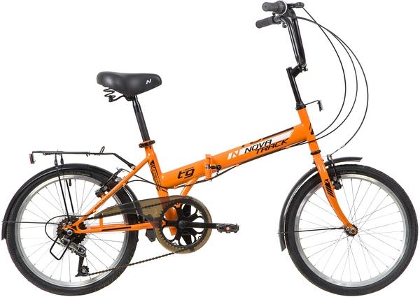 """139792 2 - Велосипед NOVATRACK 20"""" TG-20 classic 3,1 складной, оранжевый, 6 скоростей POWER, тормоз V-Brake, багажник, кры, рама - 14"""""""