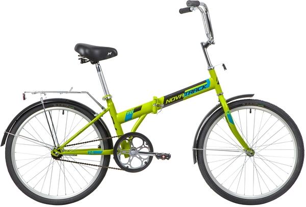 """139794 2 - Велосипед NOVATRACK 24"""" TG-24 classic 1,1 складной, зеленый, тормоз V-Brake задний ножной, багажник, крылья, рама - 14,5"""""""