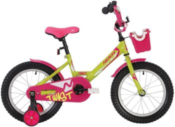 "140634 2 350x254 - Велосипед NOVATRACK 12"" TWIST салатовый, тормоз нож,, корот,крылья, полная защита цепи, перед,корзин, рама - 8,5"""