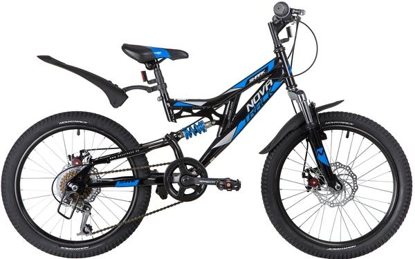"140670 2 - Велосипед NOVATRACK 20"" SHARK 6,D чёрный, сталь, 6-скор, Microshift/Power, диск,тормоз STG, рама - 12"""