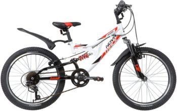 "140671 2 350x221 - Велосипед NOVATRACK 20"" SHARK 6,V белый, сталь, 6-скор, Microshift/Power, V-brake, рама - 12"""