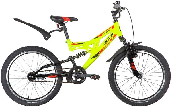 """140672 2 - Велосипед NOVATRACK 20"""" SHARK салатовый, сталь, 1-скор, Falcon, рама - 12"""""""