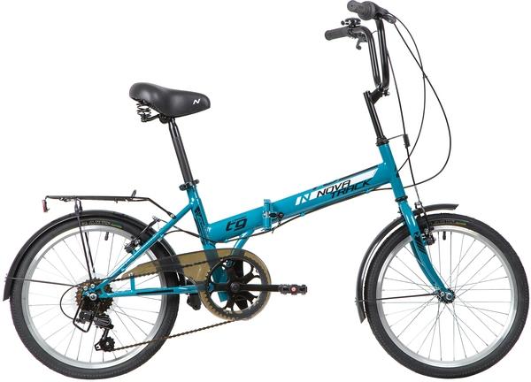 "140677 2 - Велосипед NOVATRACK 20"" TG-20 classic 3,1 складной, синий, 6 скор,Shimano TY-21,тормоз V-brake,сиден, багажник, рама - 14"""