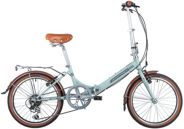 "140679 2 - Велосипед NOVATRACK 20"" AURORA 3,6, складной, светло-бирюзовый, Shimano 6 speed, TY21/RS35, рама - 12"""