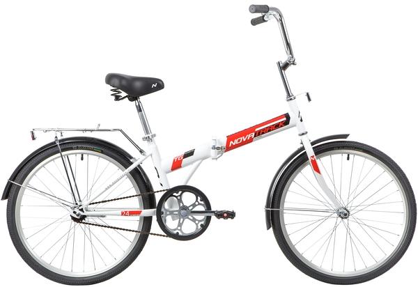 """140685 2 - Велосипед NOVATRACK 24"""" TG-24 classic 1,1 складной, белый, TG,тормоз нож, двойной обод, багажник, сидение комфорт, рама - 14,5"""""""