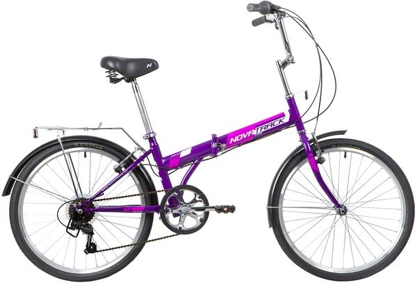 "140686 2 - Велосипед NOVATRACK 24"" TG-24 classic 3,1 складной, фиолет,, 6скор, Shimano TY-21, тормоз V-brake,,сидение комфорт, рама - 14,5"""