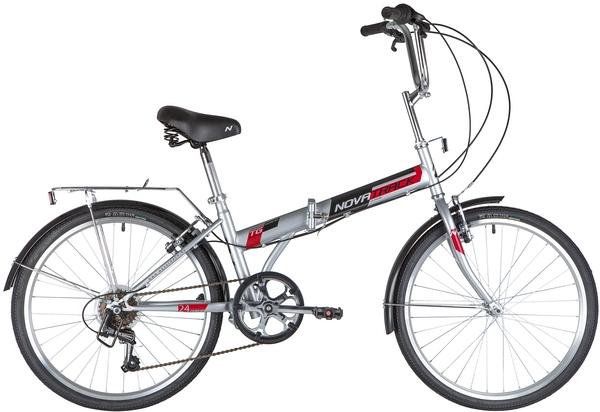 "140687 2 - Велосипед NOVATRACK 24"" TG-24 classic 3,1 складной, серый, 6скор, Shimano TY-21, тормоз V-brake,,сидение комфорт, , рама - 14,5"""