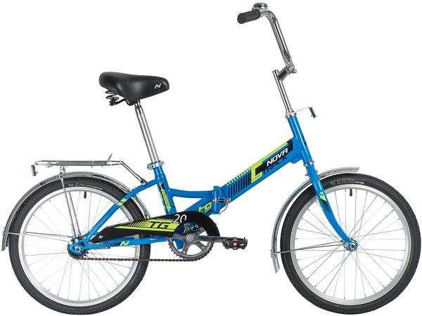 """140919 2 - Велосипед NOVATRACK 20"""" складной, TG-20 classic 1,0, синий, тормоз нож , двойной обод, багажник, рама - 14"""""""