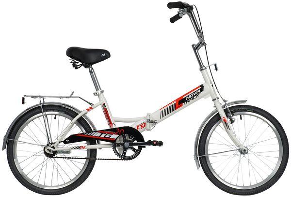 """140920 2 - Велосипед NOVATRACK 20"""" TG-20 classic 2,0, складной, белый, торм 1руч и нож, двойной обод, сидение комфорт и руль, рама - 14"""""""
