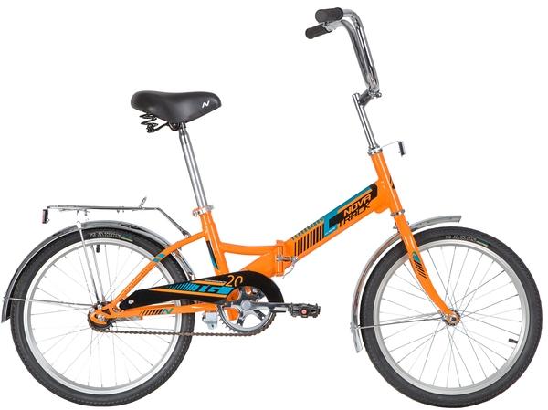 """140923 2 - Велосипед NOVATRACK 20"""" складной, TG-20 classic 1,0, оранжевый, тормоз нож, двойной обод, багажник, рама - 14"""""""