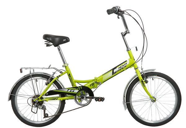 "140925 2 - Велосипед NOVATRACK 20"" TG-20 classic 3,0 складной, зеленый, 6 скор, POWER, тормоз V-Brake, багажник, рама - 14"""