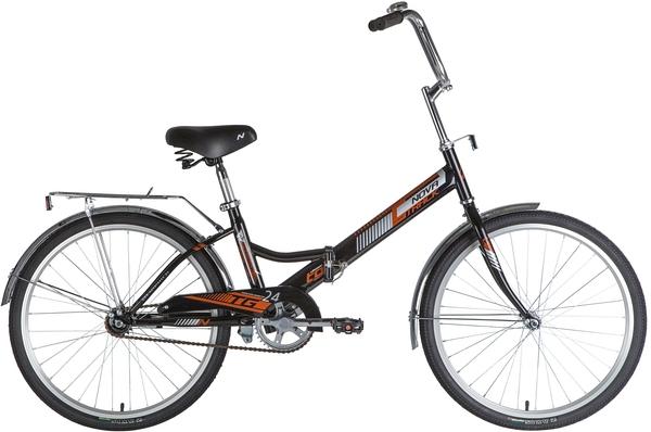 """140927 2 - Велосипед NOVATRACK 24"""" TG-24 classic 1,0 складной, TG, черный, тормоз нож, двойной обод, багажник, сидение комфорт, рама - 14,5"""""""
