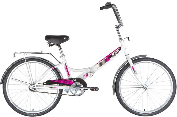 """140928 2 - Велосипед NOVATRACK 24"""" TG-24 classic 1,0 складной, TG, белый, тормоз нож, двойной обод, багажник, сидение комфорт, рама - 14,5"""""""