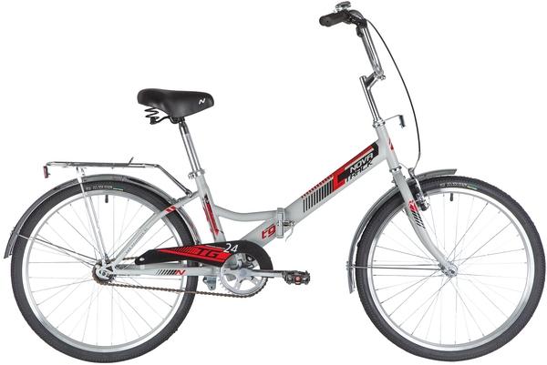 """140929 2 - Велосипед NOVATRACK 24"""" TG-24 classic 2,0 складной, TG, серый, тормоз нож, двойной обод, багажник, сидение комфорт, рама - 14,5"""""""