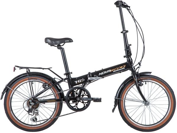 """140931 2 - Велосипед NOVATRACK 20"""" TG-20 alloy 3,6 складн, алюм,, черный, Shimano 6 speed, стальная вилка, вынос, алюм,руль, рама - 12,5"""""""