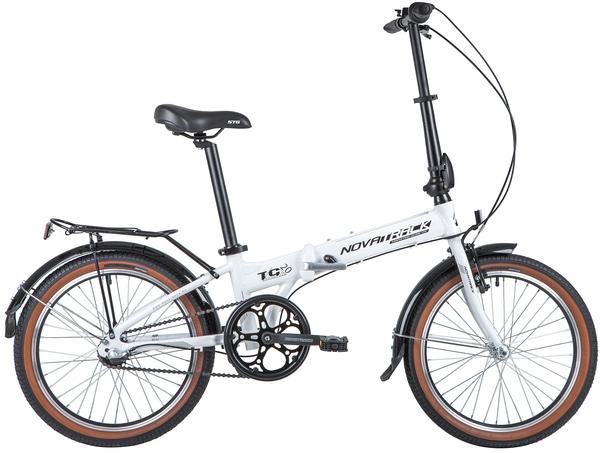 """140932 2 - Велосипед NOVATRACK 20"""" TG-20 alloy 3,3 складн, алюм, белый, Nexus 3 sp, алюм, вилка, вынос, руль, рама - 12,5"""""""