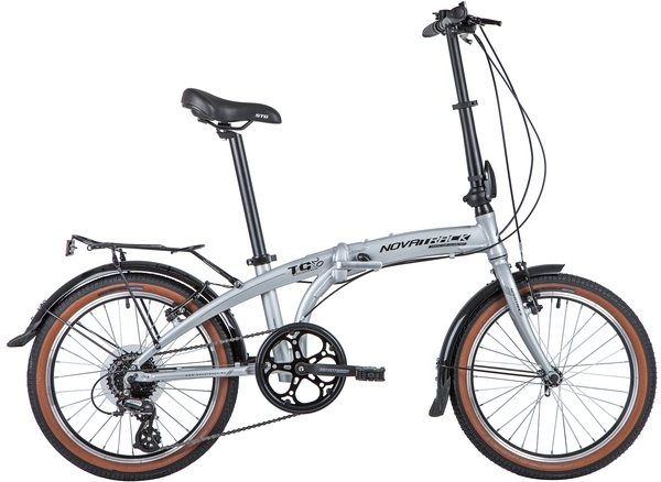 "141392 2 - Велосипед NOVATRACK 20"" TG-20 alloy 3,8 складн, алюм,, серебр,, 8 скор,, RDM310/TS71/HG20,  V-brake, рама - 12,5"""