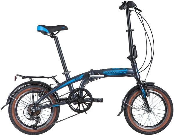 "145885 2 - Велосипед NOVATRACK 16"" TG-16 alloy 3,6 складн, aлюм,, серый, 6 скор,, SHIMANO, V- brake тормоз, рама - 10"""